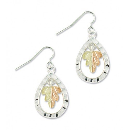Black Hills Silver Teardrop Earrings with a 12k Go...