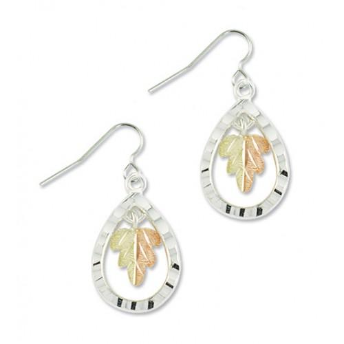 Black Hills Silver Teardrop Earrings with a 12k Gold Split Leaf