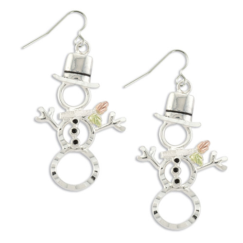Snowman Black Hills Silver Earrings
