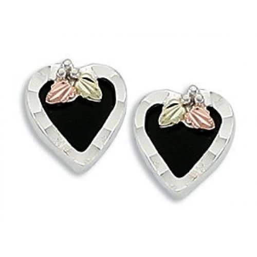 Black Hills Silver Onyx Heart Earrings