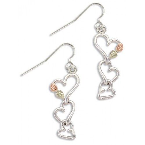 Black Hills Silver Three Heart Earrings