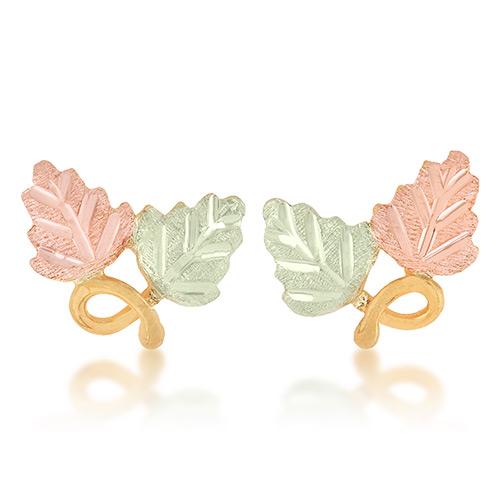 10K Gold Double Leaf Earrings