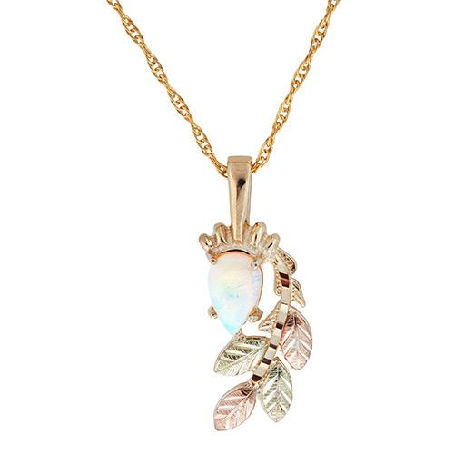 Opal Cabachon Black Hills Gold Pendant
