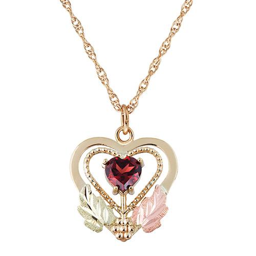 Garnet Black Hills Gold Pendant