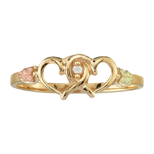 Double Hearts Black Hills Gold Ring