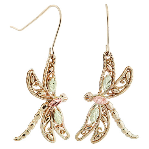 Gold Dragonfly Black Hills Earrings