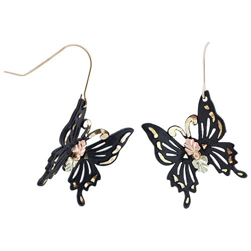 Black Powder Coated Butterfly Earrings in Black Hi...