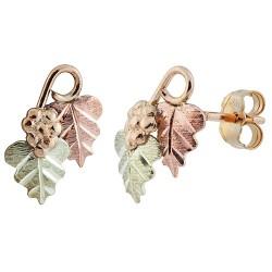 Grapes on Vine Black Hills Gold Earrings