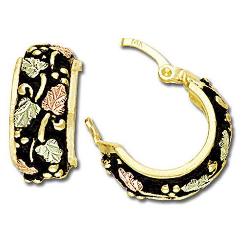 Black Hills Gold Antiqued Hoop Earrings