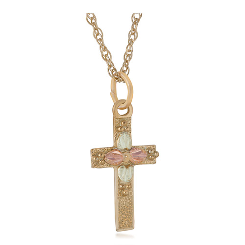 Black Hills 10k Gold Cross Jewelry with Leaves and...