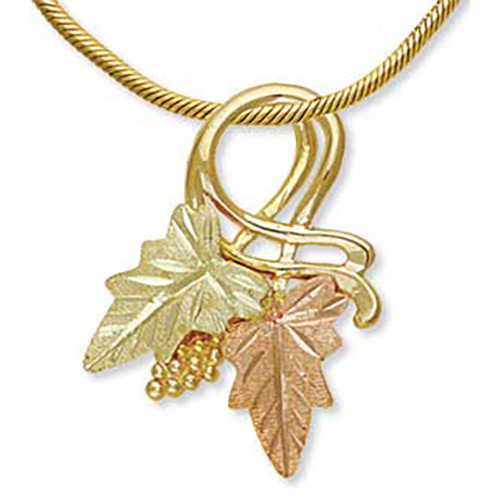 10k Gold Black Hills Necklace with Leaves and Grap...
