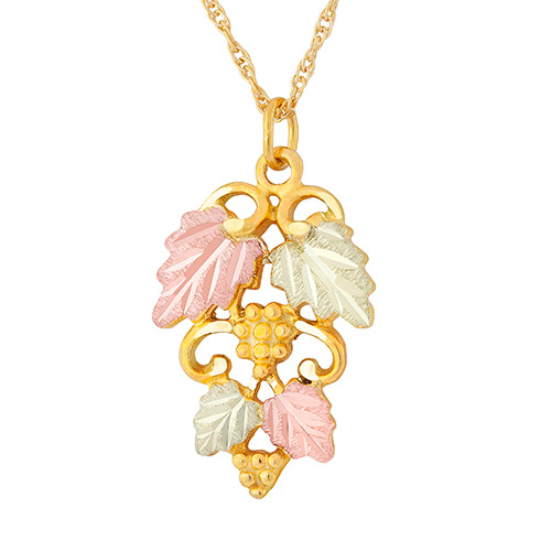 10k Gold Necklace with Two Stack Leaves and Grapes
