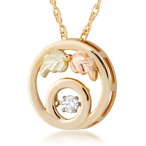 10K Black Hills Gold Diamond Pendant with .01 ct r...