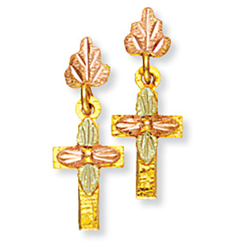 Dangling Black Hills Cross Earrings with four Leav...
