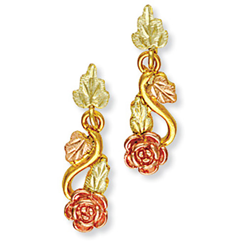 Landstroms 10k Black Hills Gold Rose Earrings