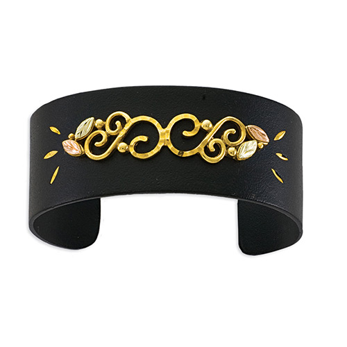 10K Gold Trim Black Powder Coat  Bracelets with 12...