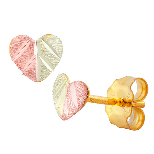 10k Split Leaf Heart Earrings
