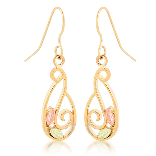 Black Hills Gold Swirl Earrings