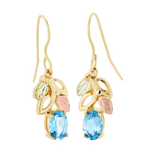 10K Gold Blue Topaz Earrings with Shepherd Hook Ba...
