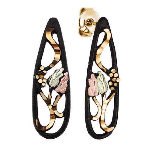 10K Gold Black Powder Coat Post Earrings