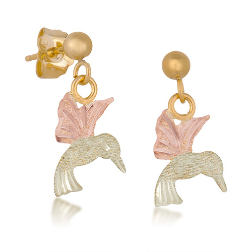 10k Gold Earrings with Dangling Humming Bird
