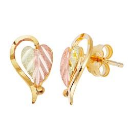 Split Leaf 10k Heart Earrings