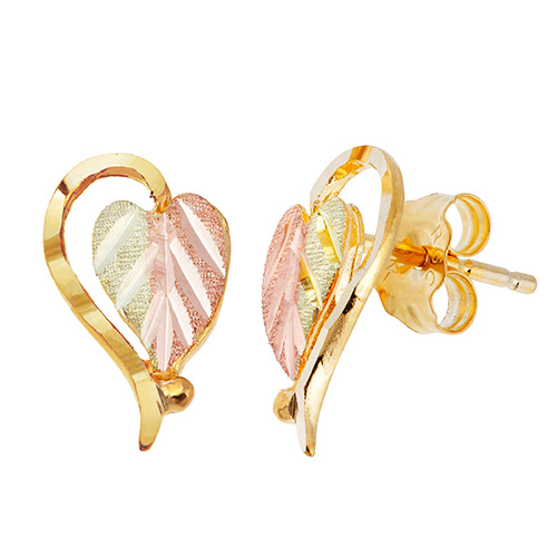 Split Leaf 10k Heart Earrings