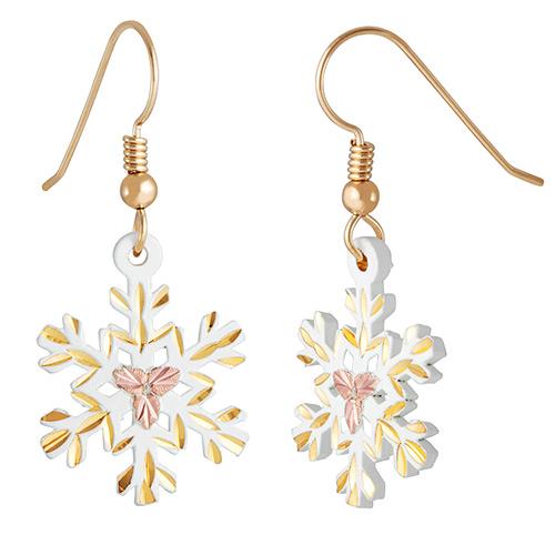 10K Black Hills Gold Landstroms White Powder Coat Snow Flake Earrings