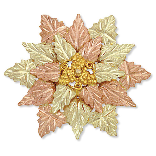 Black Hills Gold Flower Brooch Pendant