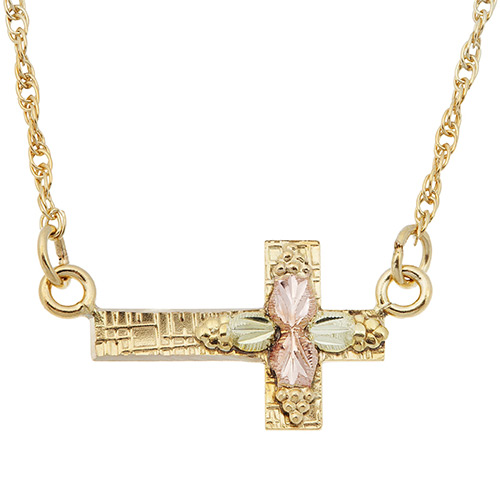10K Black Hills Gold Sideways Cross Pendant Neckla...