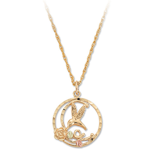Humming Bird 10k Gold Pendant Necklace