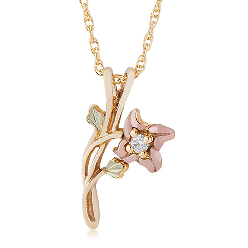 10K Black Hills Gold Flower Pendant with .01 ct ge...