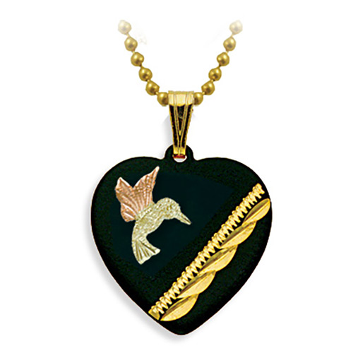 Humming Bird Black Enamel Pendant