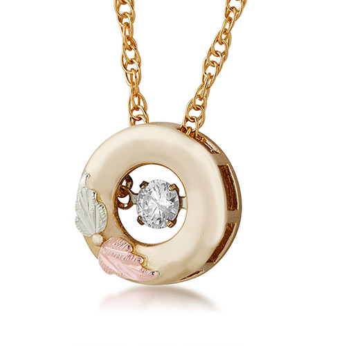 10K Black Hills Gold Diamond Pendant with .01 ct round shaped genuine diamond