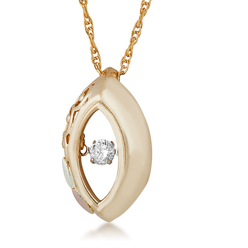 10K Black Hills Gold  .01 ct round shaped Genuine Diamond Pendant