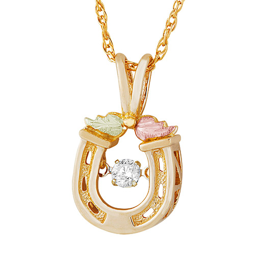 10K Gold Horse Shoe Pendant with Genuine 1/10 CT D...