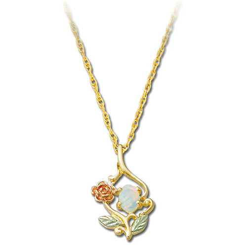 10k Gold Opal Rose Necklace