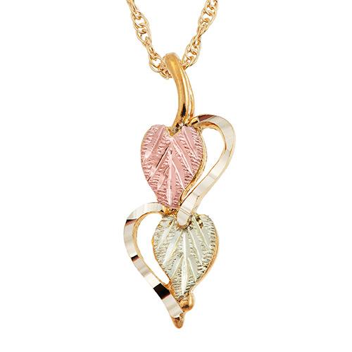 Black Hills Double Heart Gold Pendant