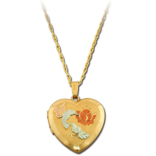 Hummingbird Gold Heart Locket