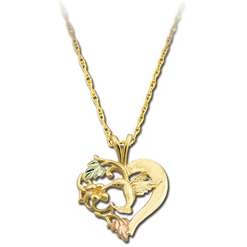 Heart Hummingbird Pendant Necklace