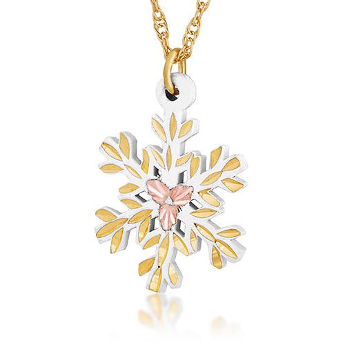 White Powder Coat Snow Flake Pendant Necklace with...