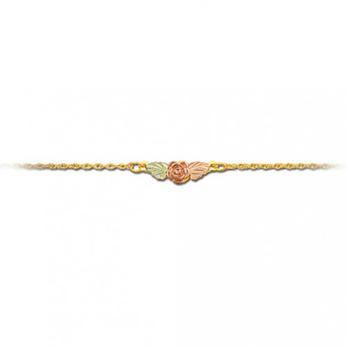 Rose Flower 10k Gold Anklet