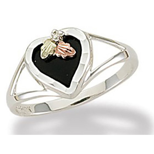 Black Hills Silver Onyx Heart Ring