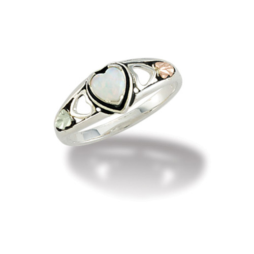 Black Hills Silver Heart Opal Ring