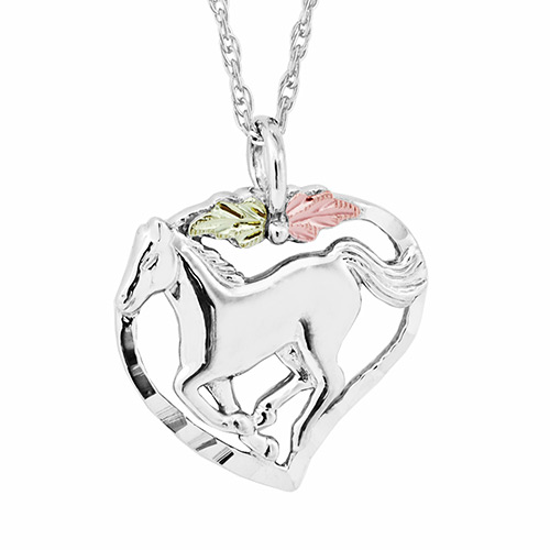 Horse in Heart Pendant on Sterling Silver