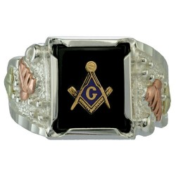 Black Hills Silver Masonic Ring with 12 X 10 MM On...