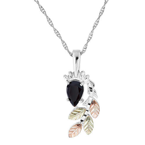 Pear Shaped Onyx Black Hills Silver Pendant