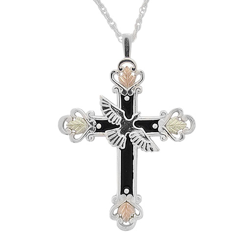 Antiqued Blackhills Silver Cross Neckace with Dove