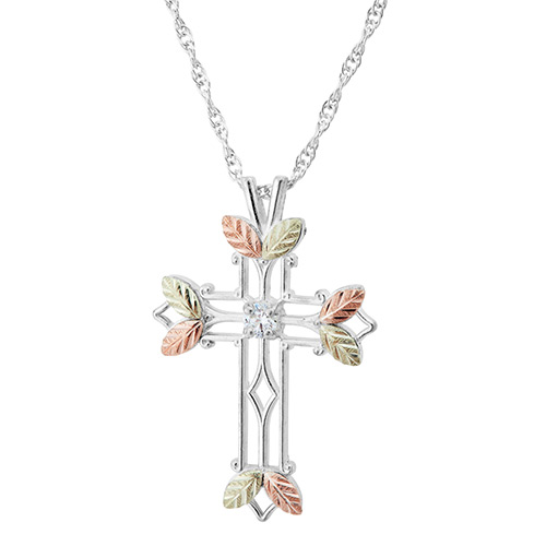Black Hills Gold Cross Pendant with 2.5 MM Cubic Z...