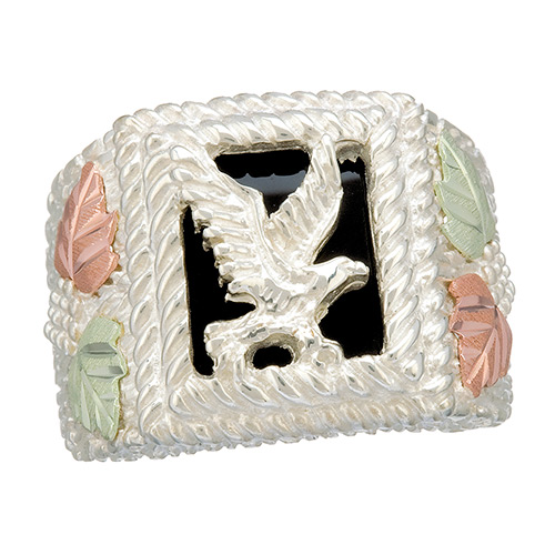 Eagle and Onyx Black Hills Silver Ring